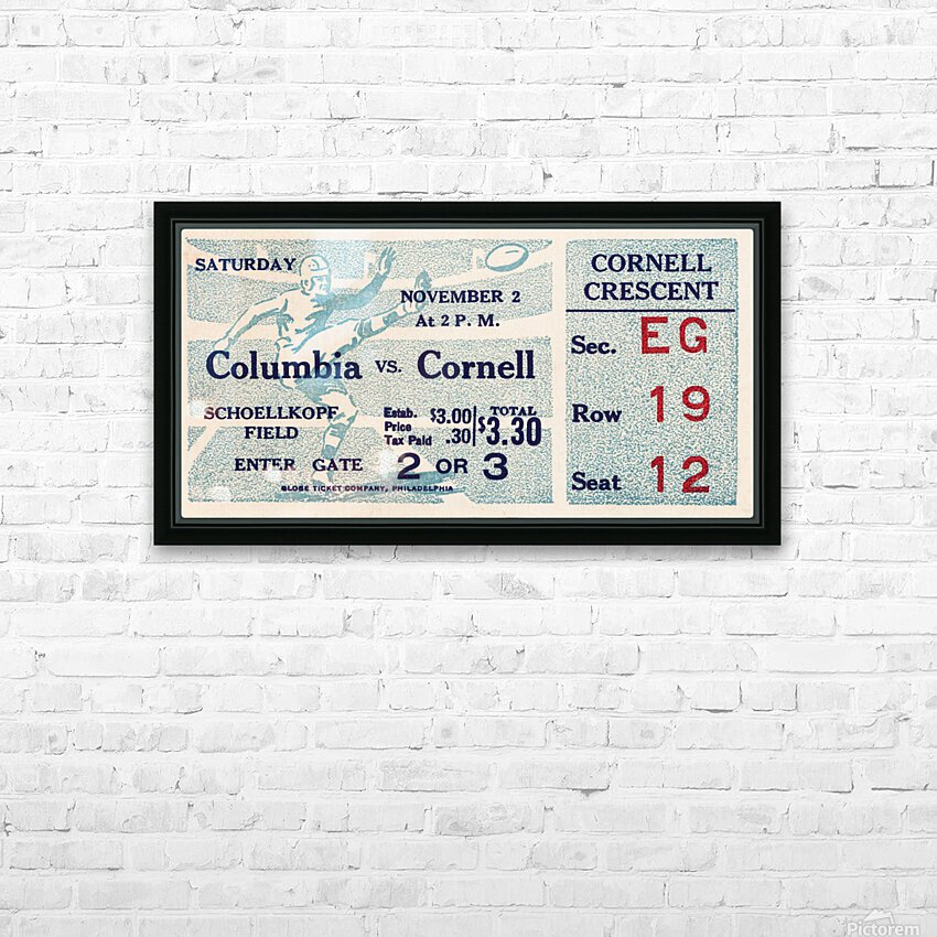 1935 Columbia vs. Cornell Football Ticket Art HD Sublimation Metal print with Decorating Float Frame (BOX)