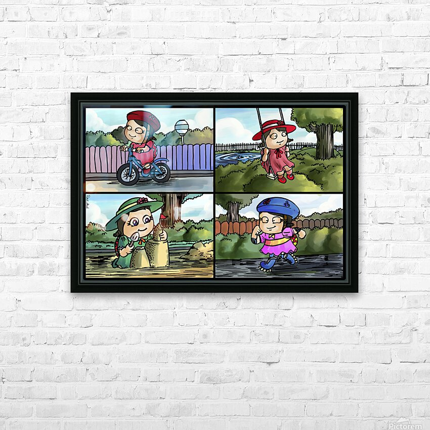 Lass the Ladybug in Action   4 panel Favorites for Kids Room and Nursery   Bugville Critters HD Sublimation Metal print with Decorating Float Frame (BOX)