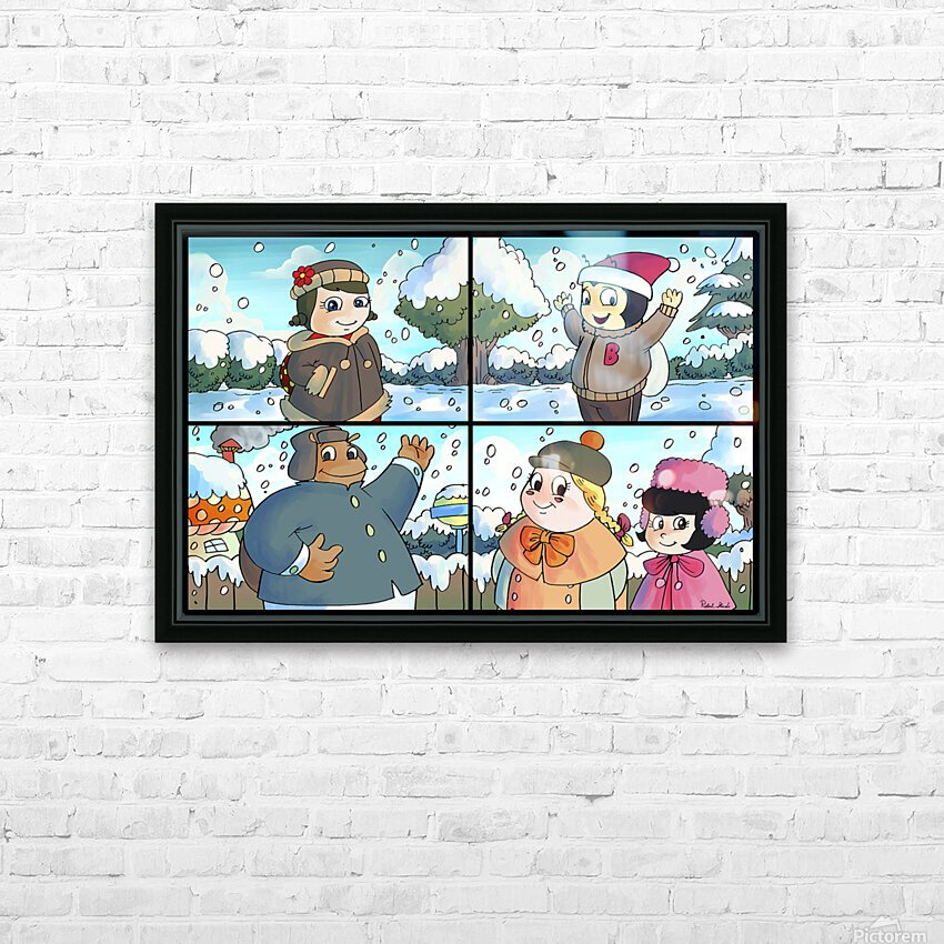 Winter Wonderland Fun   Playing in the Snow   4 panel Favorites for Kids Room and Nursery   Bugville Critters HD Sublimation Metal print with Decorating Float Frame (BOX)