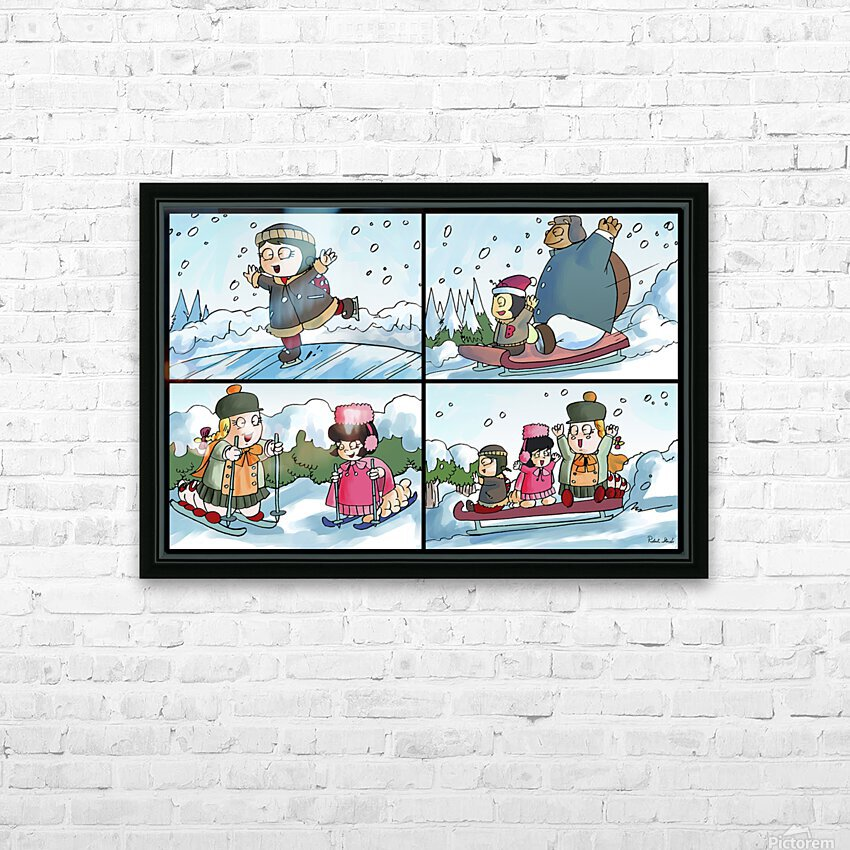 Winter Wonderland Fun   Ice Skating  Sledding and Tobogganing   4 panel Favorites for Kids Room and Nursery   Bugville Critters HD Sublimation Metal print with Decorating Float Frame (BOX)