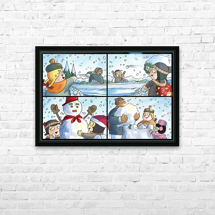 Winter Wonderland Fun   Snowballs  Snowforts and Snowman   4 panel Favorites for Kids Room and Nursery   Bugville Critters HD Sublimation Metal print with Decorating Float Frame (BOX)