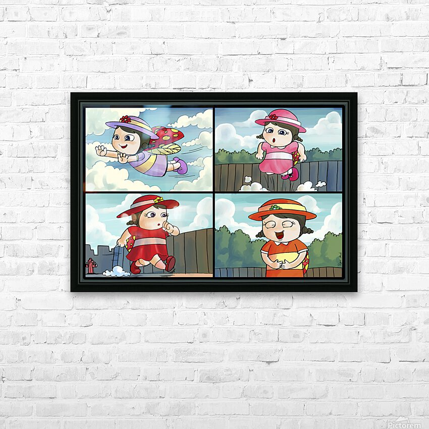Lass the Ladybug on the Go   4 panel Favorites for Kids Room and Nursery   Bugville Critters HD Sublimation Metal print with Decorating Float Frame (BOX)