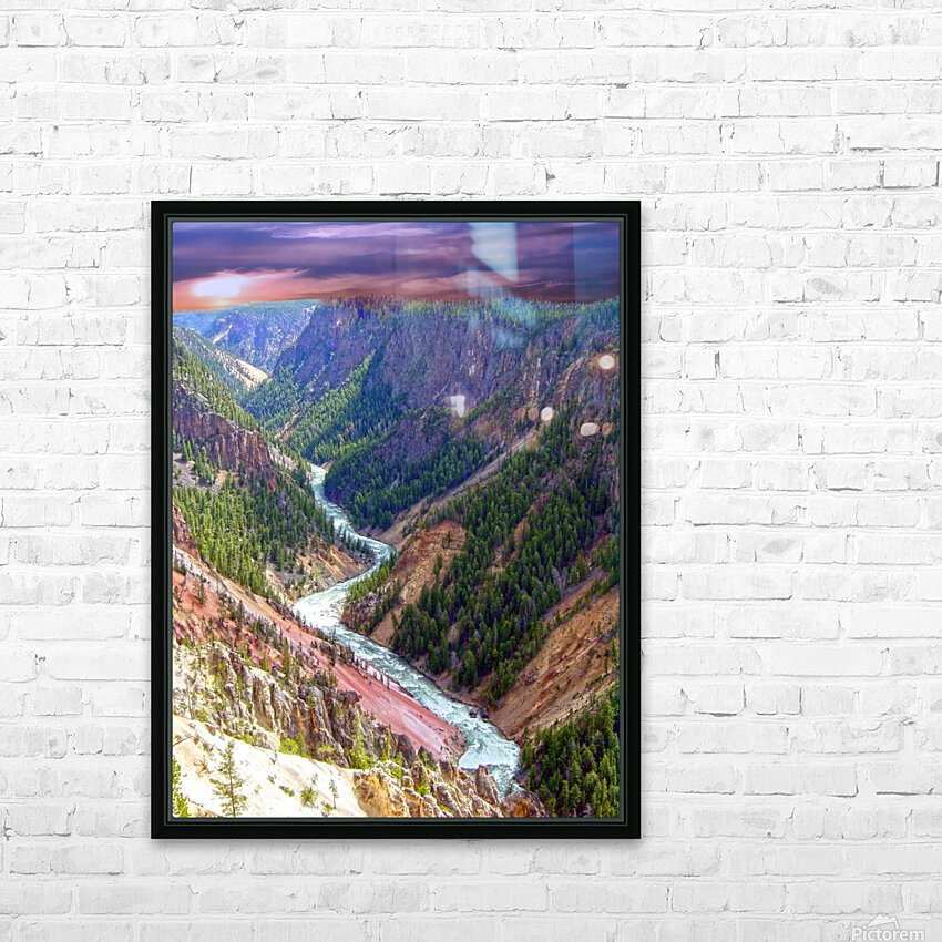 Grand Canyon of Yellowstone in the Waning Light of Day - Yellowstone National Park at Sunset HD Sublimation Metal print with Decorating Float Frame (BOX)