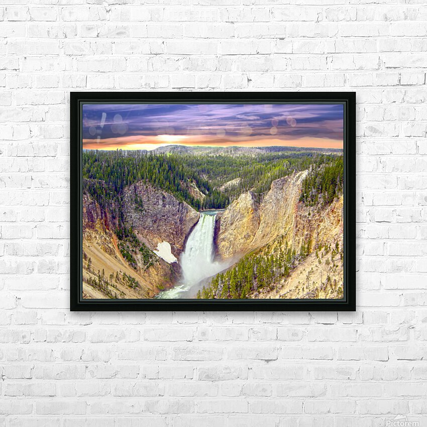 Grand Canyon of Yellowstone - The Falls in the Waning Light of Day - Yellowstone National Park at Sunset HD Sublimation Metal print with Decorating Float Frame (BOX)