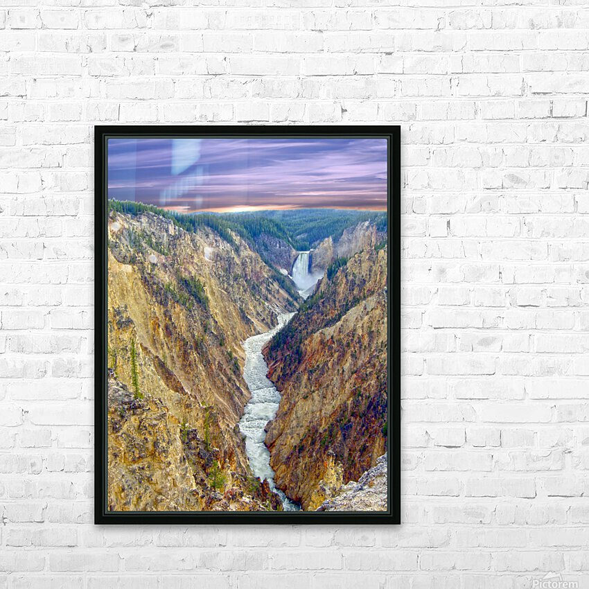 Grand Canyon of Yellowstone - The Falls and River in the Fading Light of Day  Yellowstone National Park at Sunset HD Sublimation Metal print with Decorating Float Frame (BOX)
