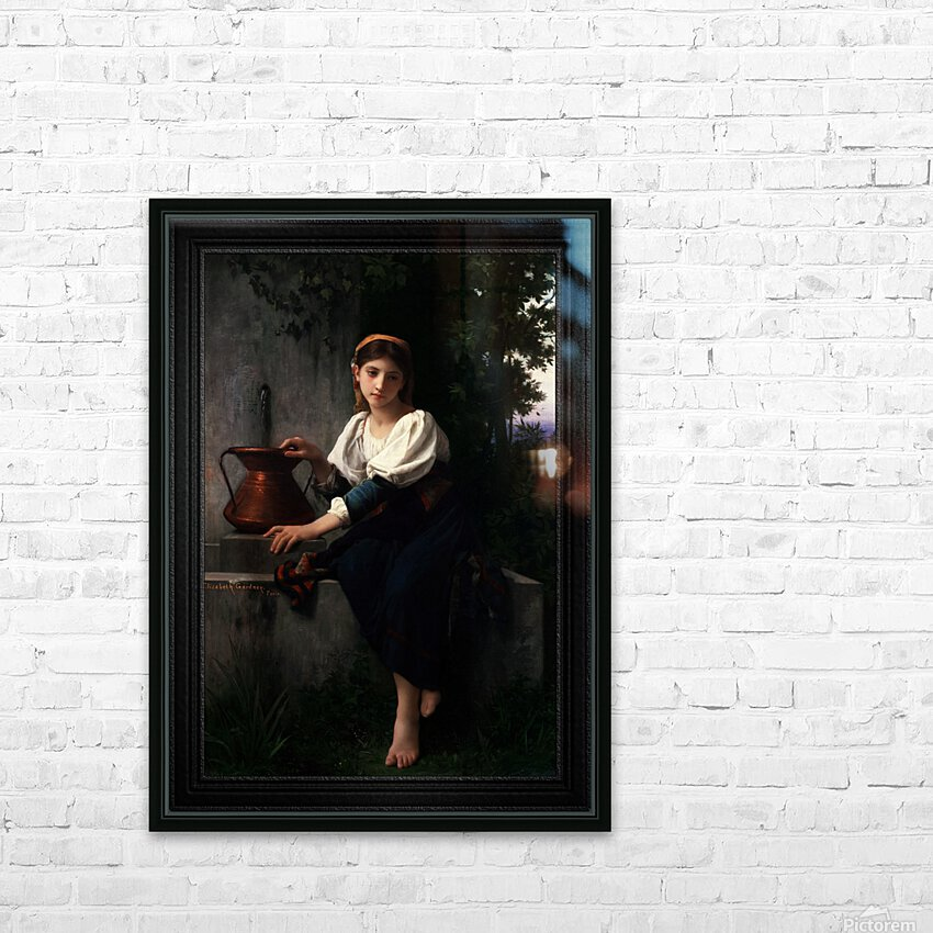 Young Girl Gathering Water At The Fountain by Elizabeth Gardner Classical Fine Art Xzendor7 Old Masters Reproductions HD Sublimation Metal print with Decorating Float Frame (BOX)