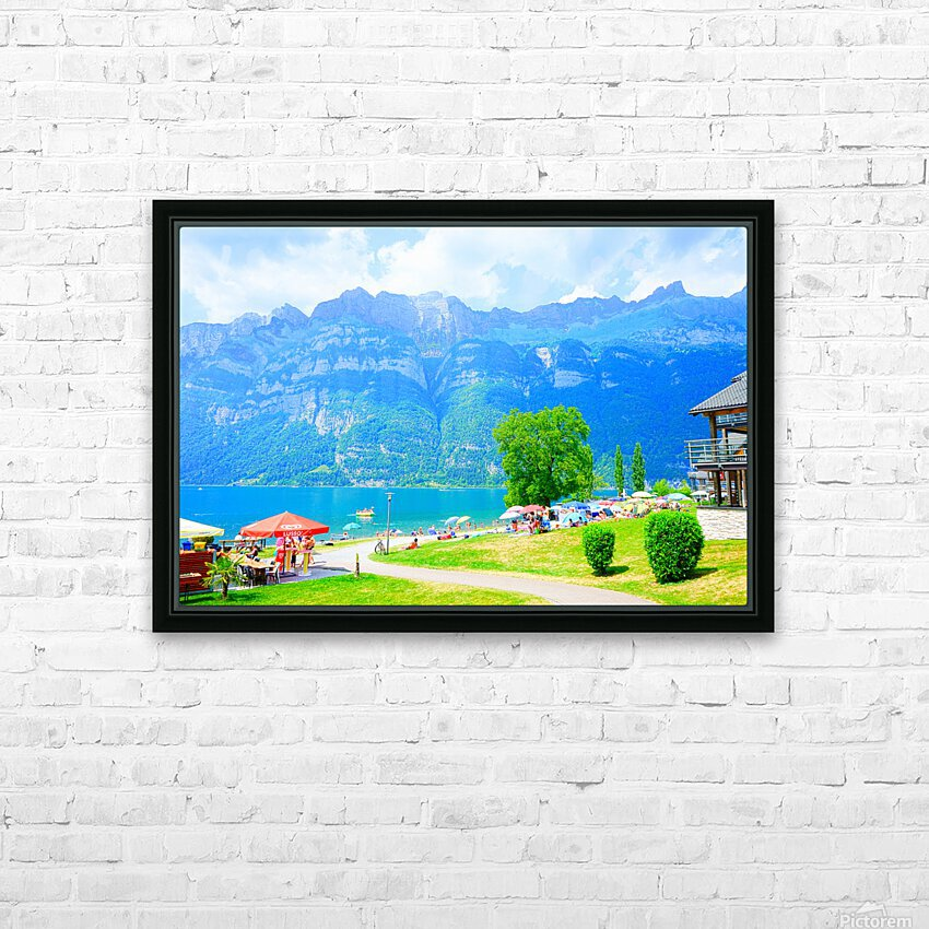 Snapshot in Time Walensee - Lake Walen Switzerland 1 of 3 HD Sublimation Metal print with Decorating Float Frame (BOX)
