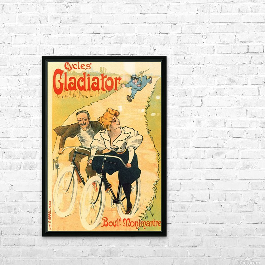 Cycles Gladiator poster in 1897 HD Sublimation Metal print with Decorating Float Frame (BOX)