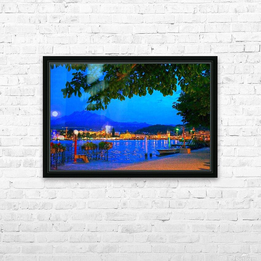 City Lights over Lake Lucerne Switzerland HD Sublimation Metal print with Decorating Float Frame (BOX)