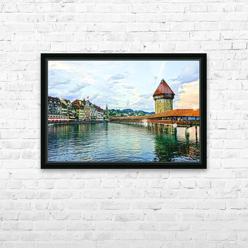 Chapel Bridge and Old Town at Sunset Lucerne Switzerland HD Sublimation Metal print with Decorating Float Frame (BOX)