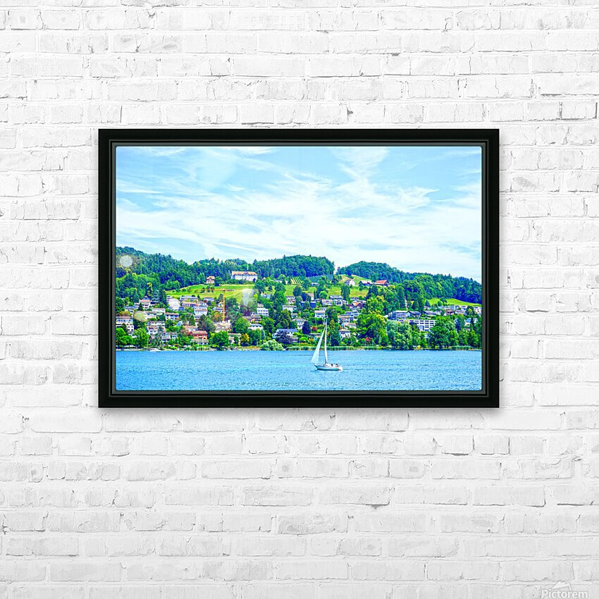 Sailboat On Lake Lucerne with Alpine Village in Background HD Sublimation Metal print with Decorating Float Frame (BOX)