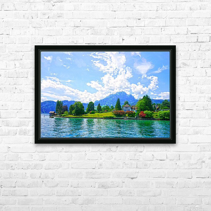 Perfect Day on the shores of Lake Lucerne Switzerland HD Sublimation Metal print with Decorating Float Frame (BOX)