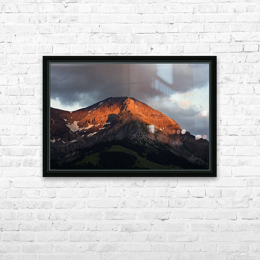 Mountain Bathed in the Golden Rays of the Sun at Sunset in Switzerland 3 of 3 HD Sublimation Metal print with Decorating Float Frame (BOX)