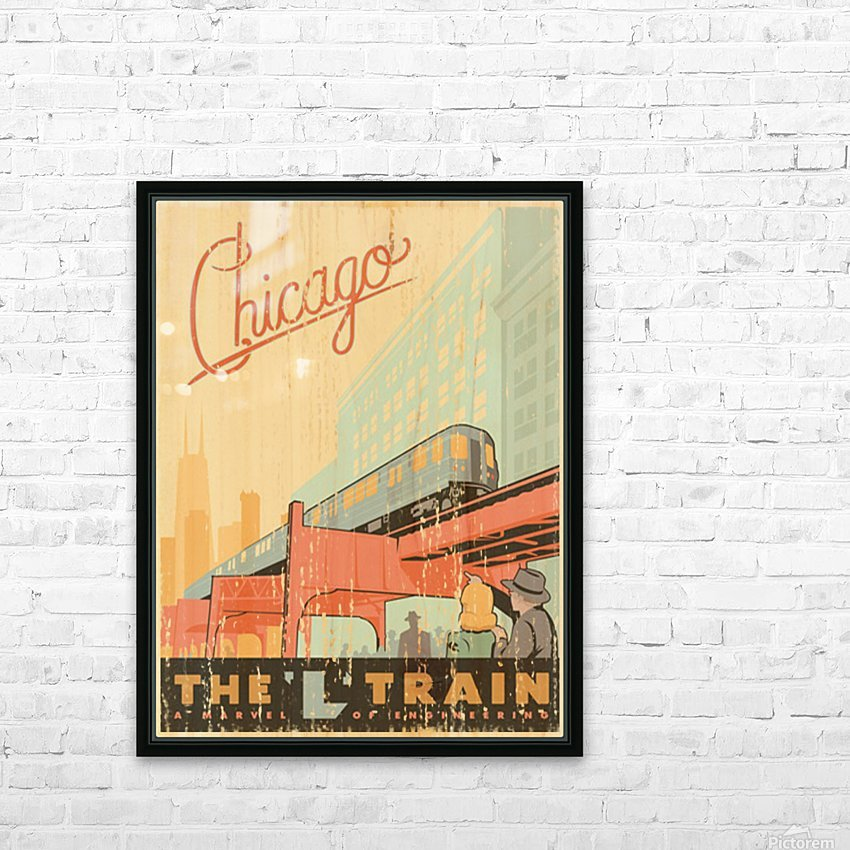Chicago L Train Vintage Art Poster HD Sublimation Metal print with Decorating Float Frame (BOX)