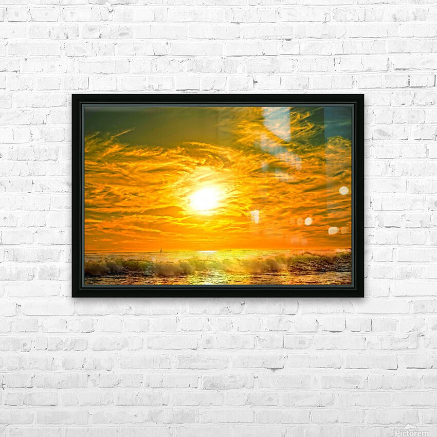 Wild Waves Break as the Sun Sets over Catalina Island in Newport Beach California HD Sublimation Metal print with Decorating Float Frame (BOX)