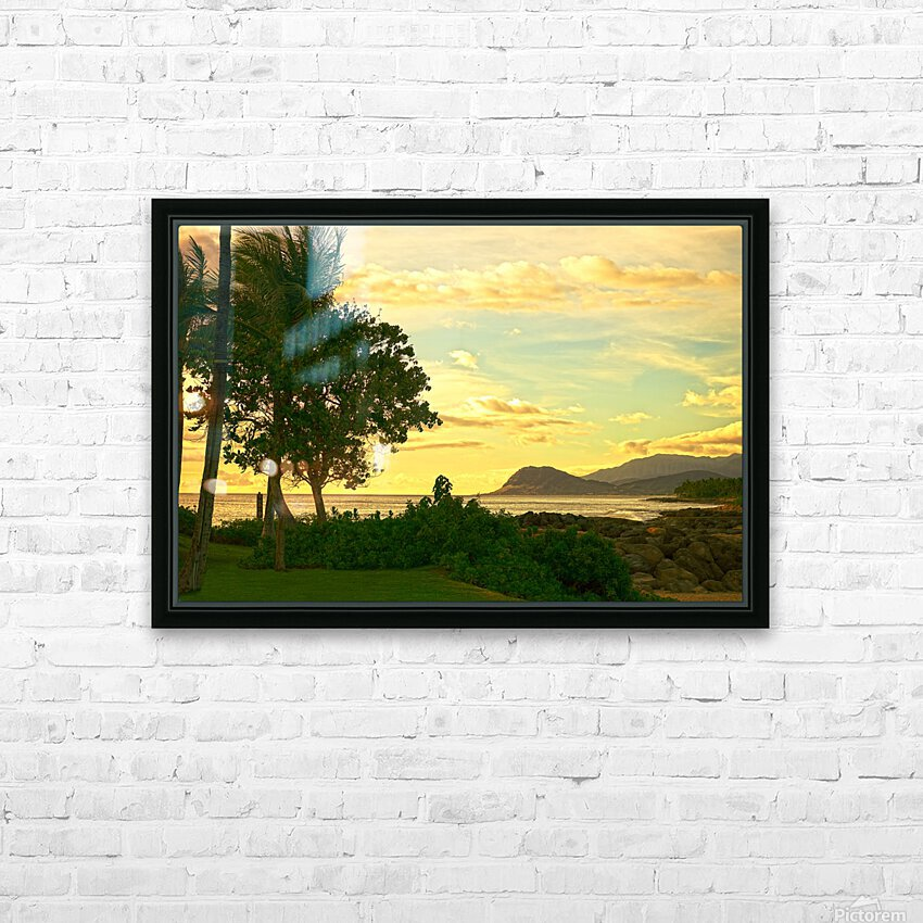 Sunset over the Bay Oahu Hawaii HD Sublimation Metal print with Decorating Float Frame (BOX)
