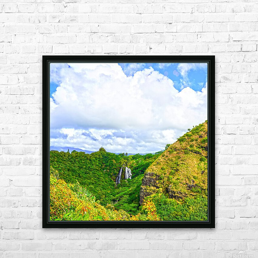The Falls at the Mountain Overlook on Kauai Square HD Sublimation Metal print with Decorating Float Frame (BOX)