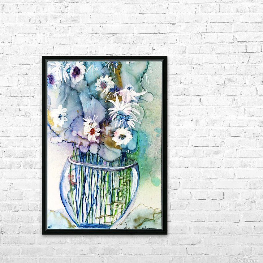 Blue Floral HD Sublimation Metal print with Decorating Float Frame (BOX)