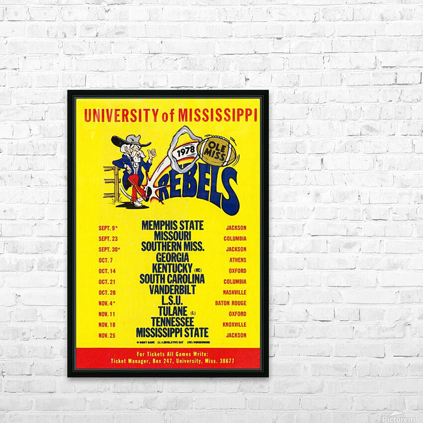1978 Ole Miss Football Schedule Art HD Sublimation Metal print with Decorating Float Frame (BOX)