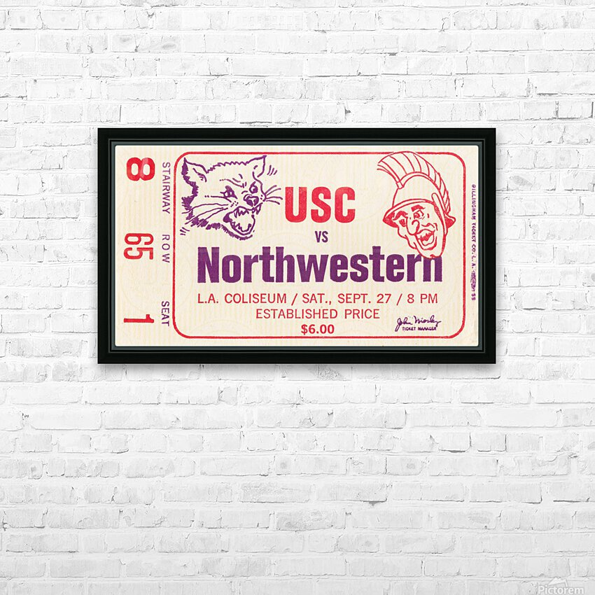 1969 USC Trojans vs. Northwestern Wildcats HD Sublimation Metal print with Decorating Float Frame (BOX)