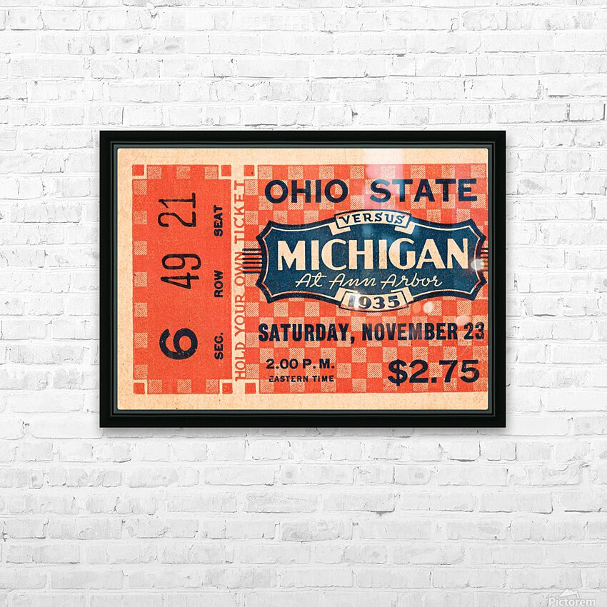 1935 Michigan Wolverines vs. Ohio State Buckeyes Ticket Art HD Sublimation Metal print with Decorating Float Frame (BOX)