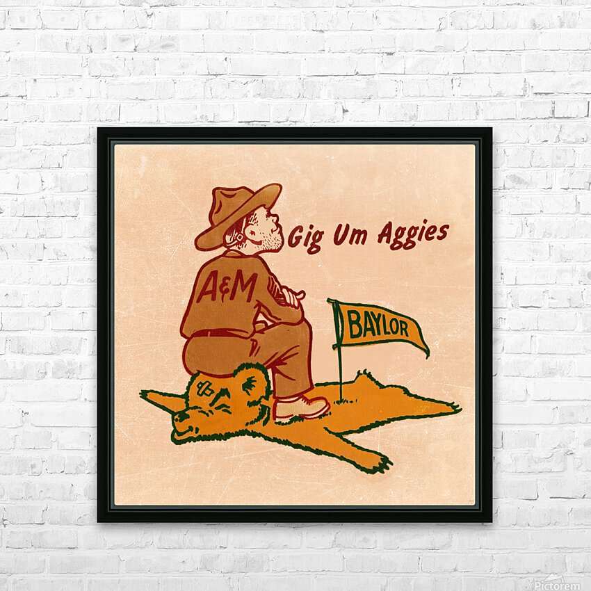 Vintage Fifties Texas A&M vs. Baylor Cartoon Art HD Sublimation Metal print with Decorating Float Frame (BOX)