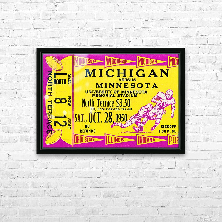 1950 Minnesota Golden Gophers vs. Michigan Wolverines HD Sublimation Metal print with Decorating Float Frame (BOX)