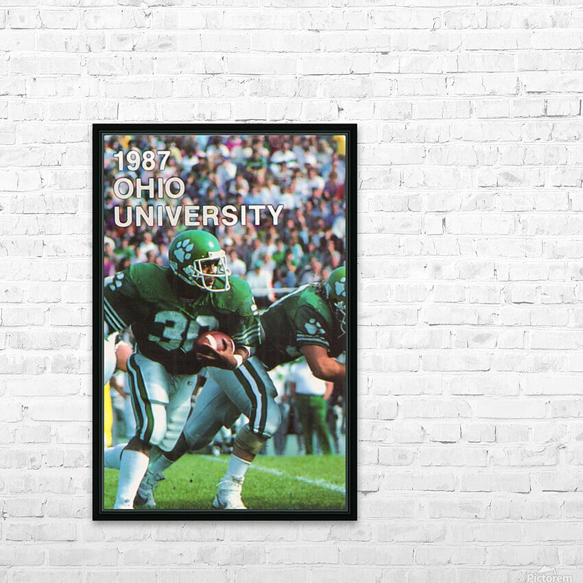 1987 Ohio Bobcats Retro Football Poster HD Sublimation Metal print with Decorating Float Frame (BOX)