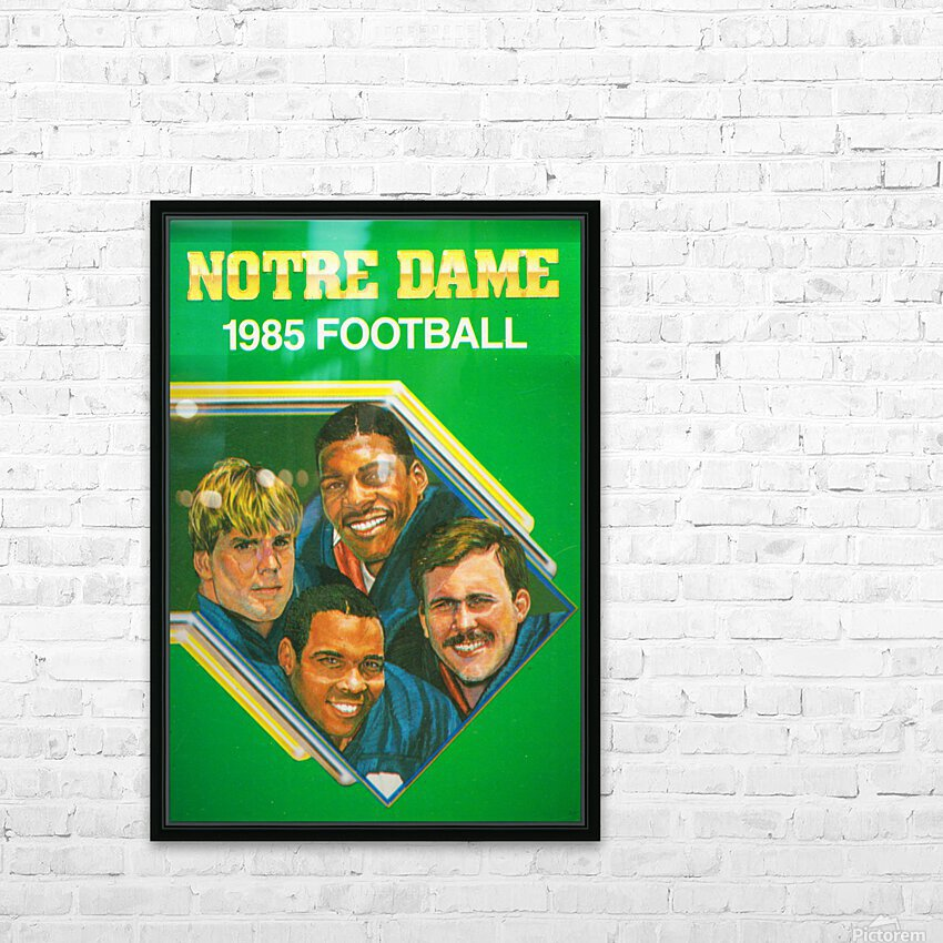 1985 Notre Dame Retro Football Poster HD Sublimation Metal print with Decorating Float Frame (BOX)