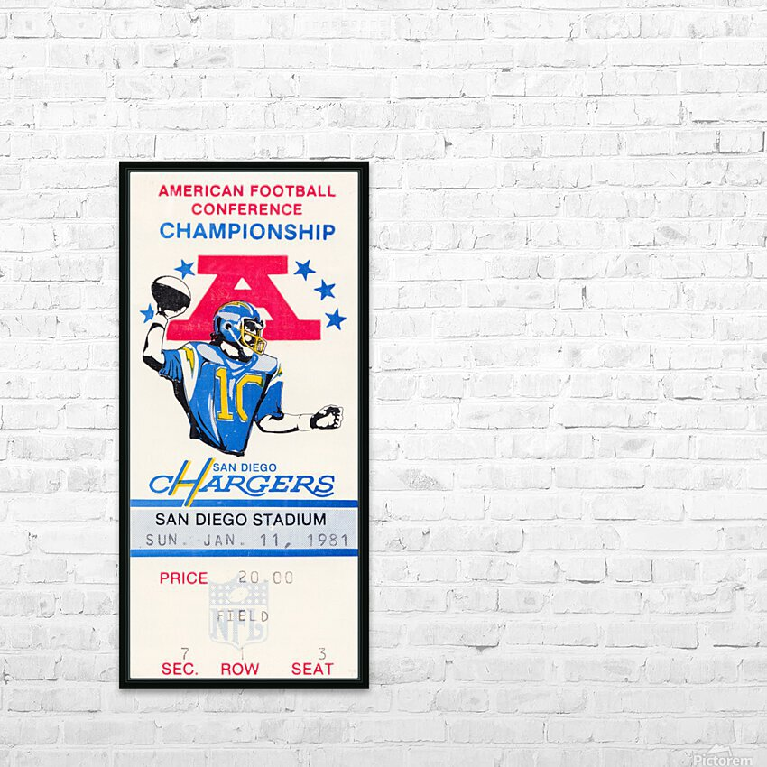 1981 Oakland Raiders vs. San Diego Chargers  HD Sublimation Metal print with Decorating Float Frame (BOX)