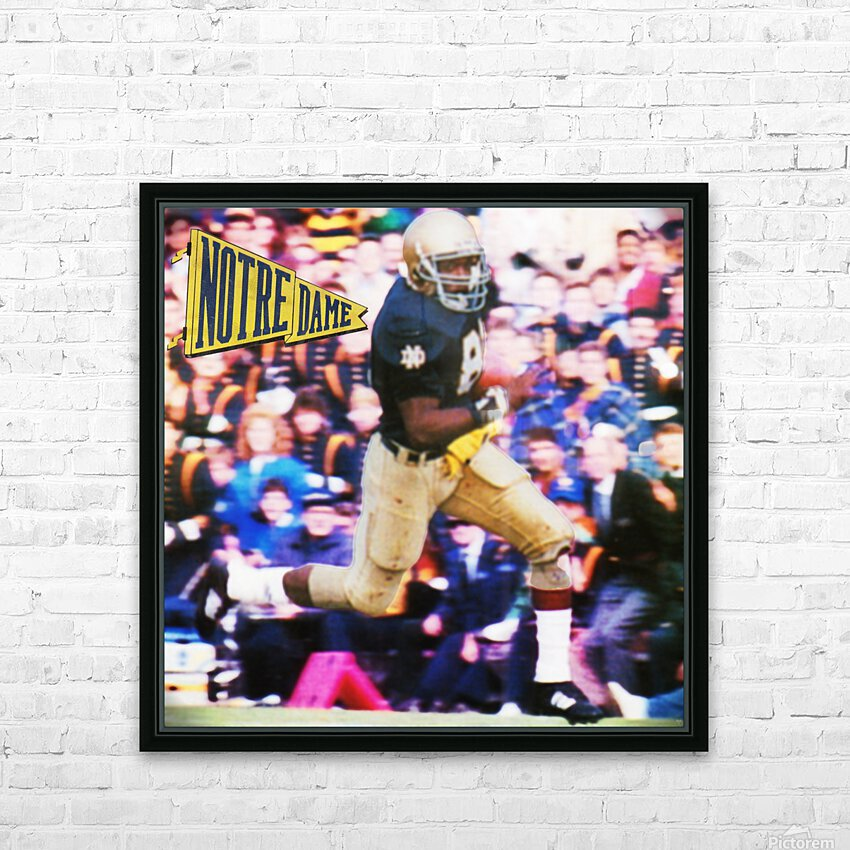 Retro Notre Dame Tim Brown Football Art HD Sublimation Metal print with Decorating Float Frame (BOX)