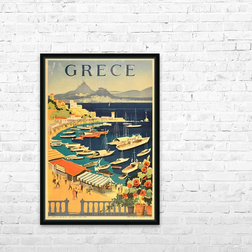 Greece original vintage travel poster HD Sublimation Metal print with Decorating Float Frame (BOX)