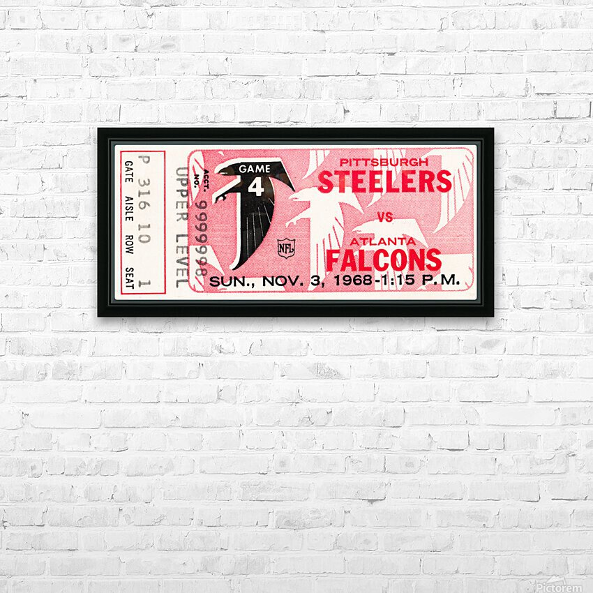 1968 Atlanta Falcons vs. Pittsburgh Steelers Ticket Art HD Sublimation Metal print with Decorating Float Frame (BOX)