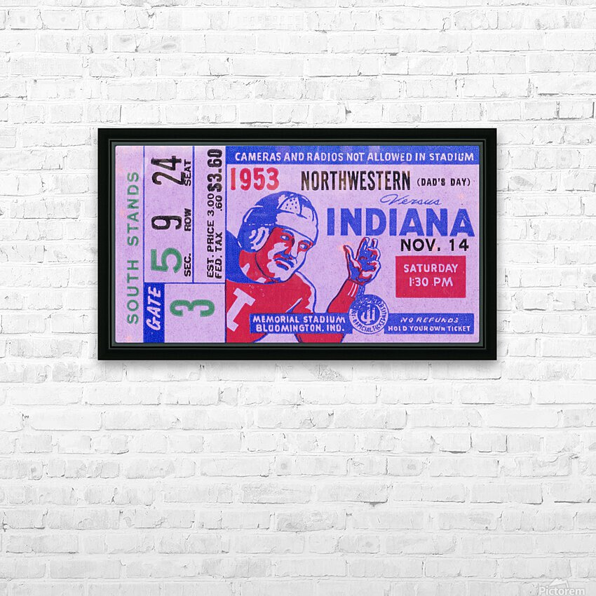 1953 Indiana Hoosiers vs. Northwestern Wildcats HD Sublimation Metal print with Decorating Float Frame (BOX)