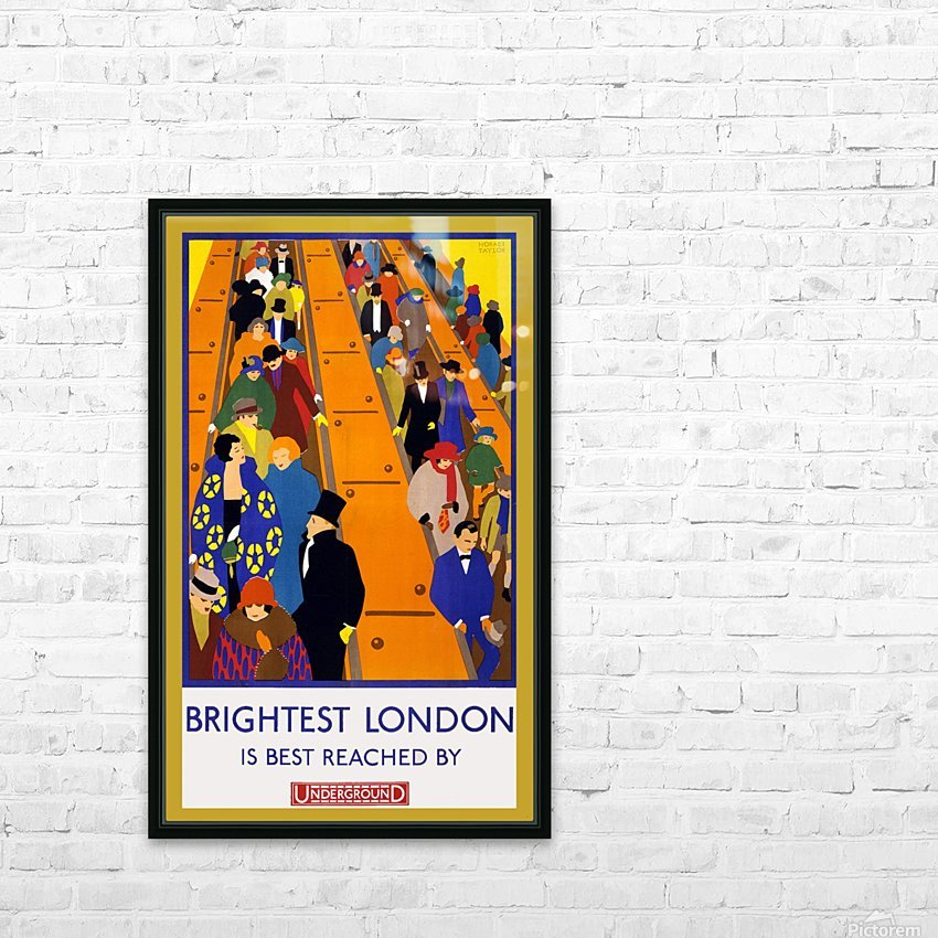 Brightest London travel poster HD Sublimation Metal print with Decorating Float Frame (BOX)
