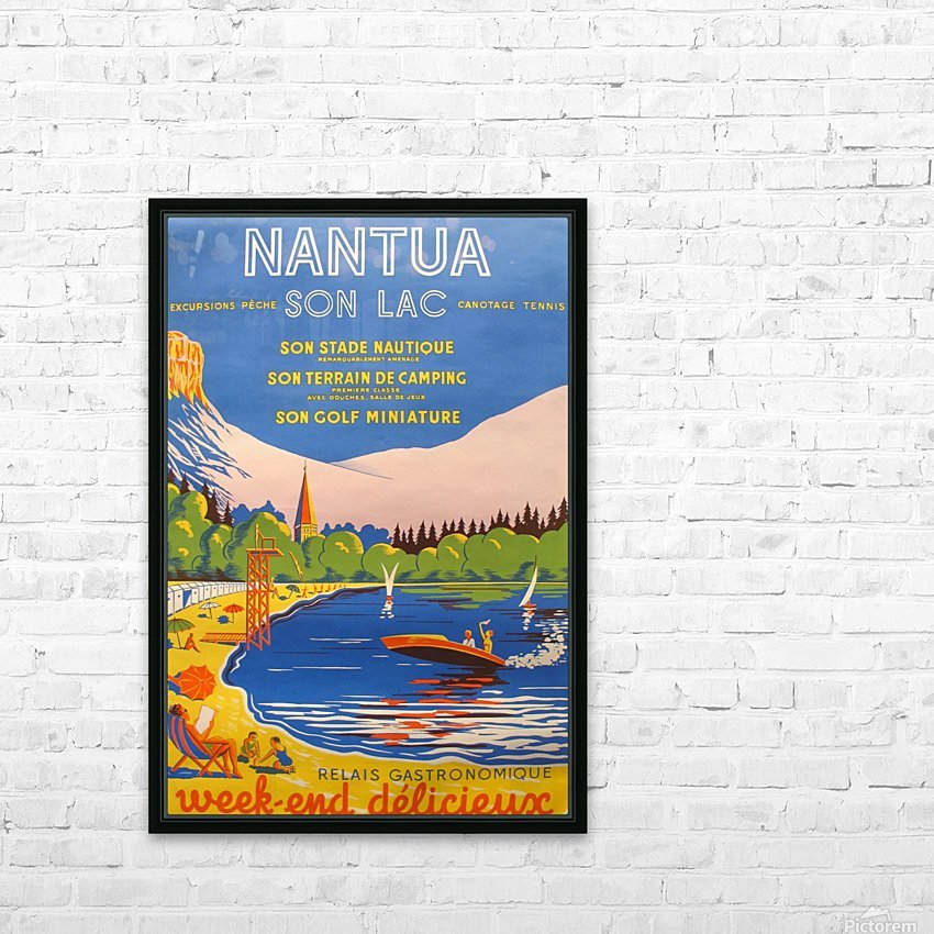 Vintage French Travel Poster for Nantua HD Sublimation Metal print with Decorating Float Frame (BOX)