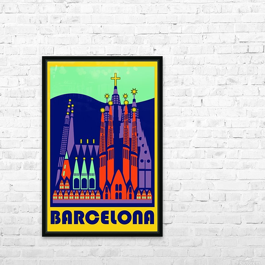 Barcelona travel poster HD Sublimation Metal print with Decorating Float Frame (BOX)