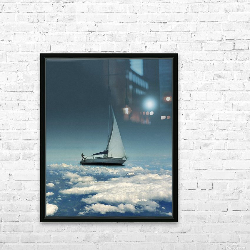 Navigating Trough Clouds Fantasy Collage Photo HD Sublimation Metal print with Decorating Float Frame (BOX)