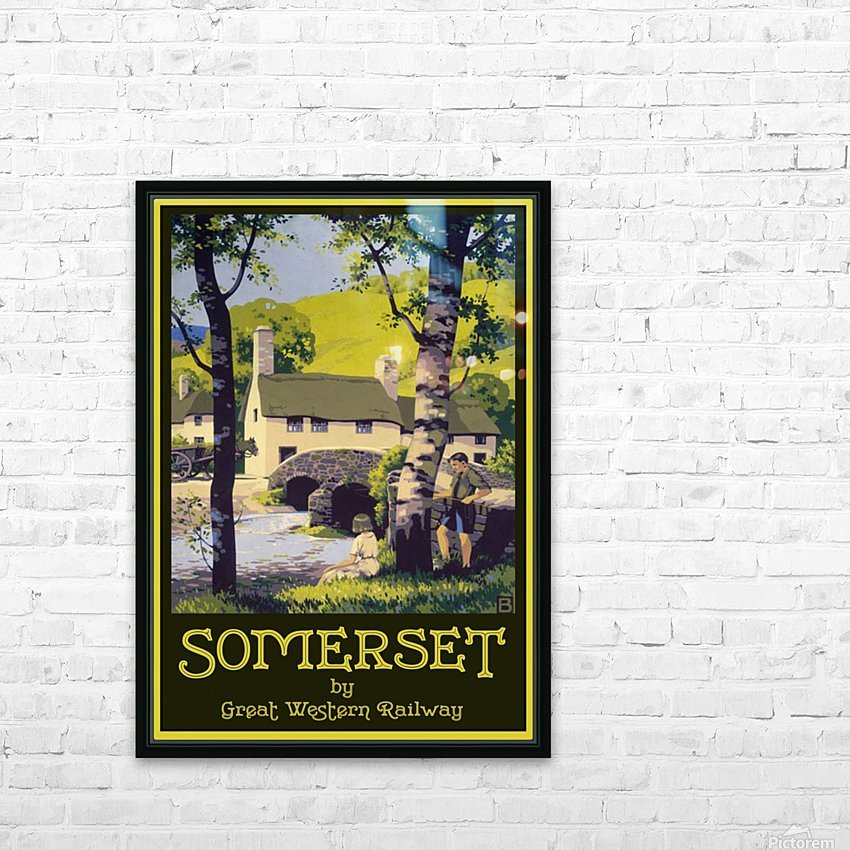 Great Western Railway Somerset travel poster HD Sublimation Metal print with Decorating Float Frame (BOX)