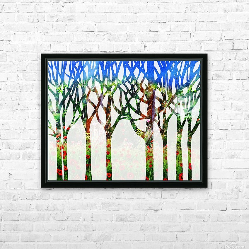 Watercolor Forest Silhouette Summer HD Sublimation Metal print with Decorating Float Frame (BOX)