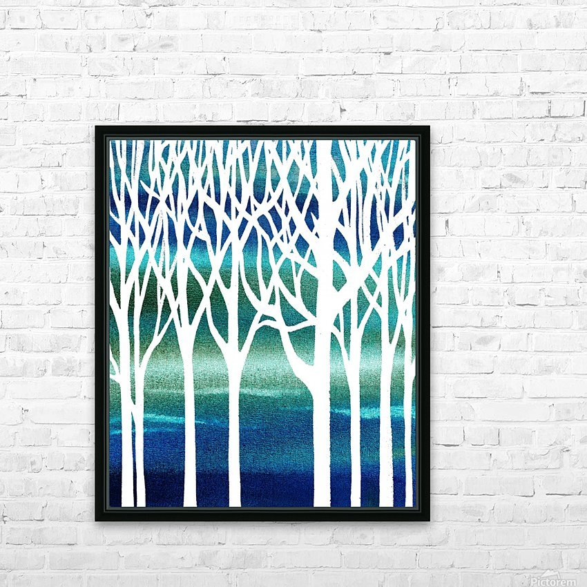 Blue Teal Forest  HD Sublimation Metal print with Decorating Float Frame (BOX)