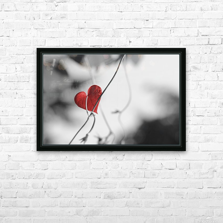 Red heart shaped leaf HD Sublimation Metal print with Decorating Float Frame (BOX)