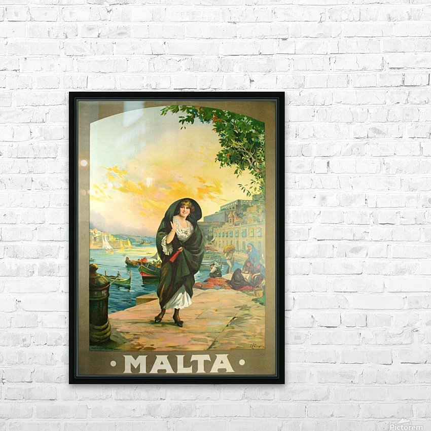 Original travel poster for Malta in 1900 HD Sublimation Metal print with Decorating Float Frame (BOX)