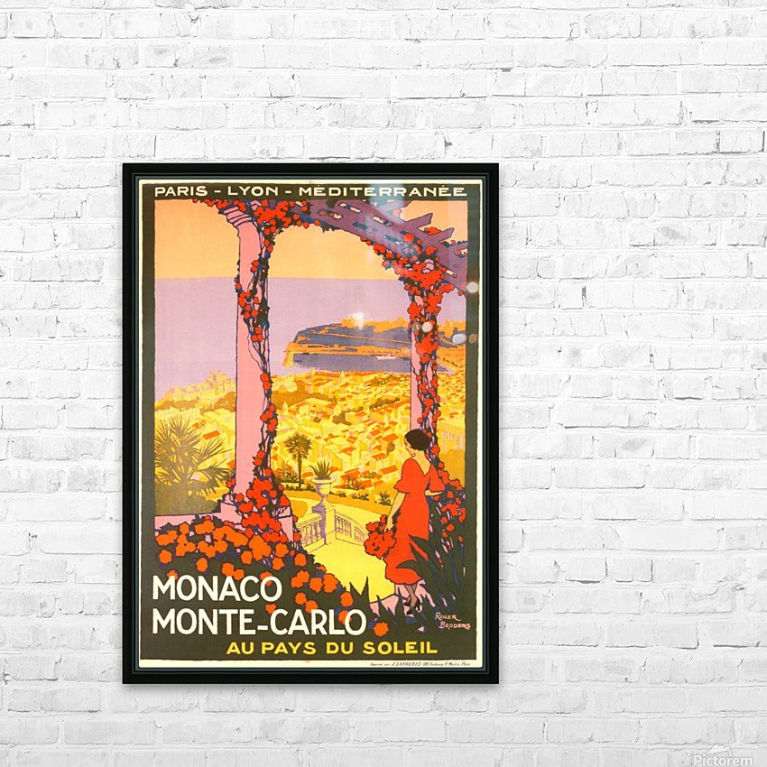 Monaco Monte Carlo 1920 vintage poster HD Sublimation Metal print with Decorating Float Frame (BOX)