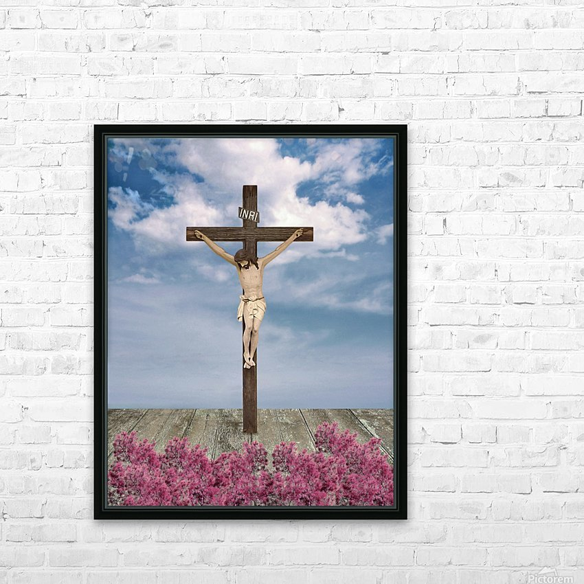 Jesus on the Cross Illustration HD Sublimation Metal print with Decorating Float Frame (BOX)