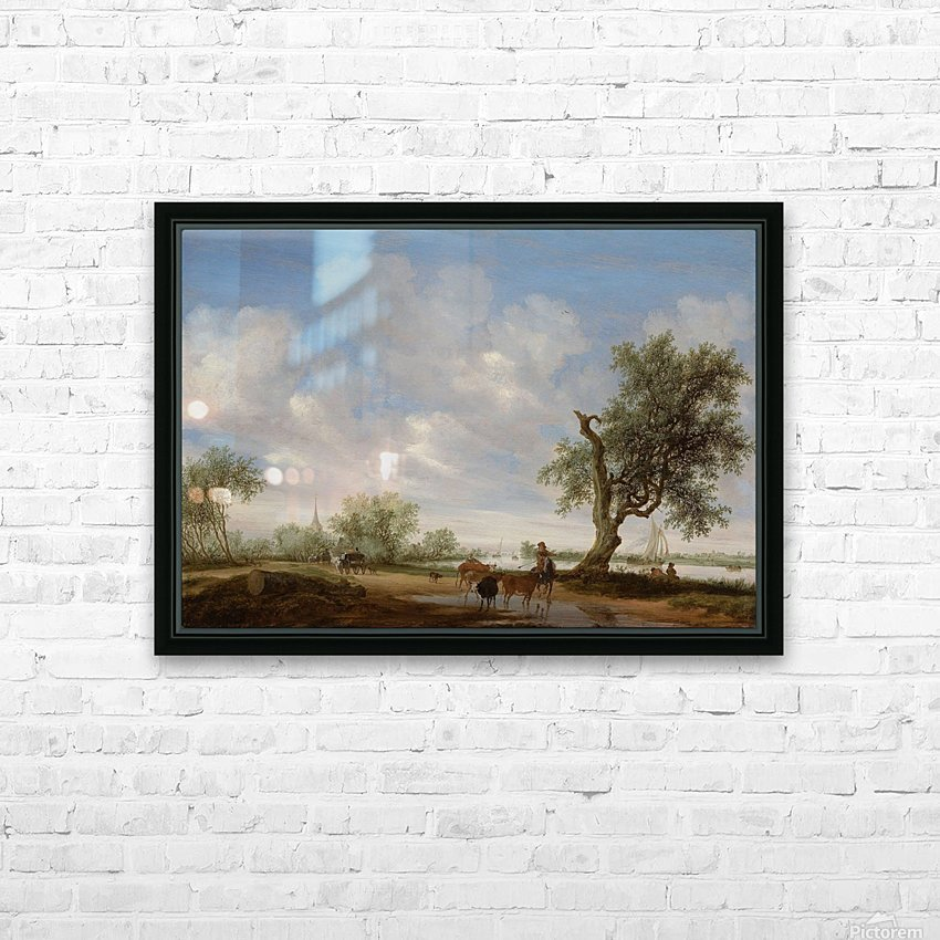Landscape with a Road alongside a River HD Sublimation Metal print with Decorating Float Frame (BOX)