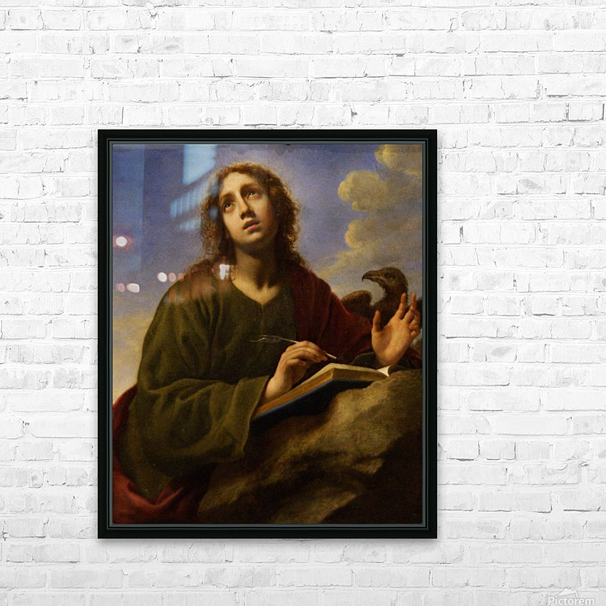 Saint John the Evangelist Writing the Book of Revelation HD Sublimation Metal print with Decorating Float Frame (BOX)