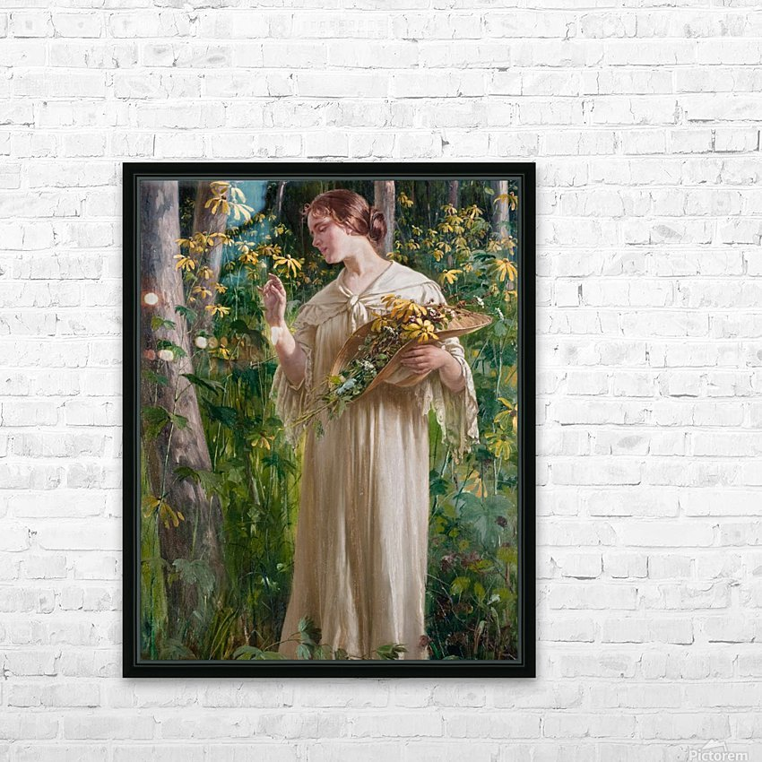 Lady in forest HD Sublimation Metal print with Decorating Float Frame (BOX)