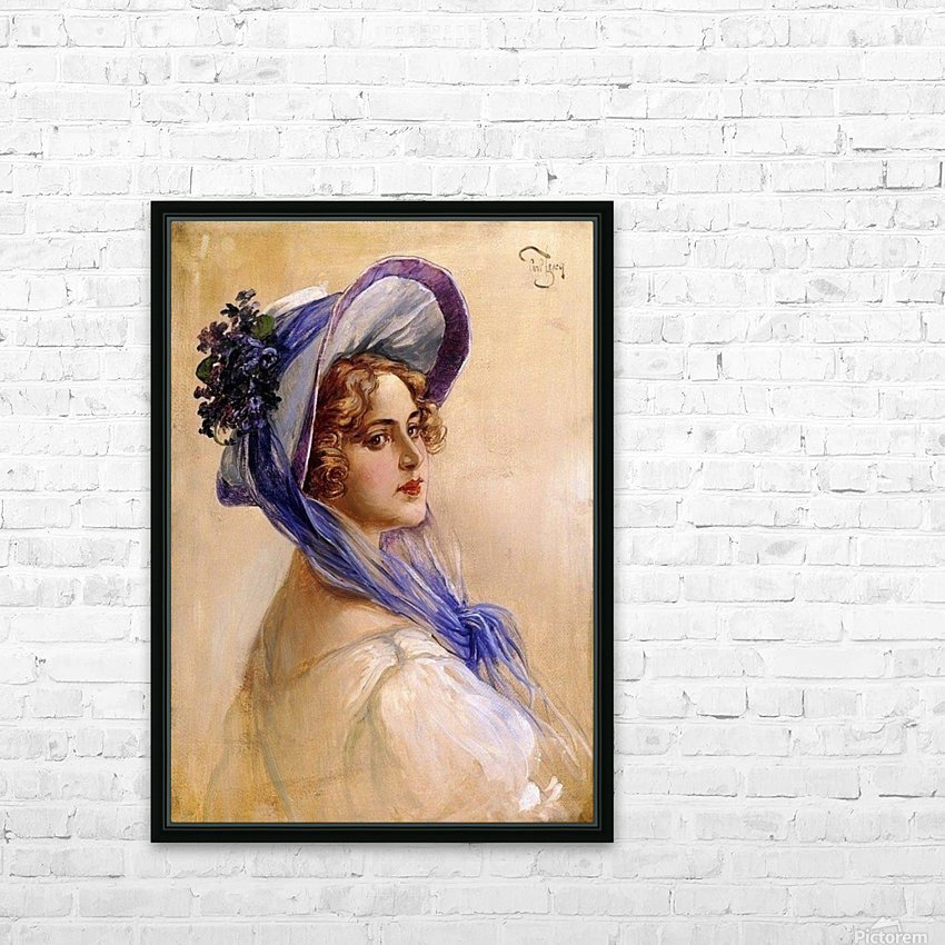 Youbg lady with purple hat HD Sublimation Metal print with Decorating Float Frame (BOX)