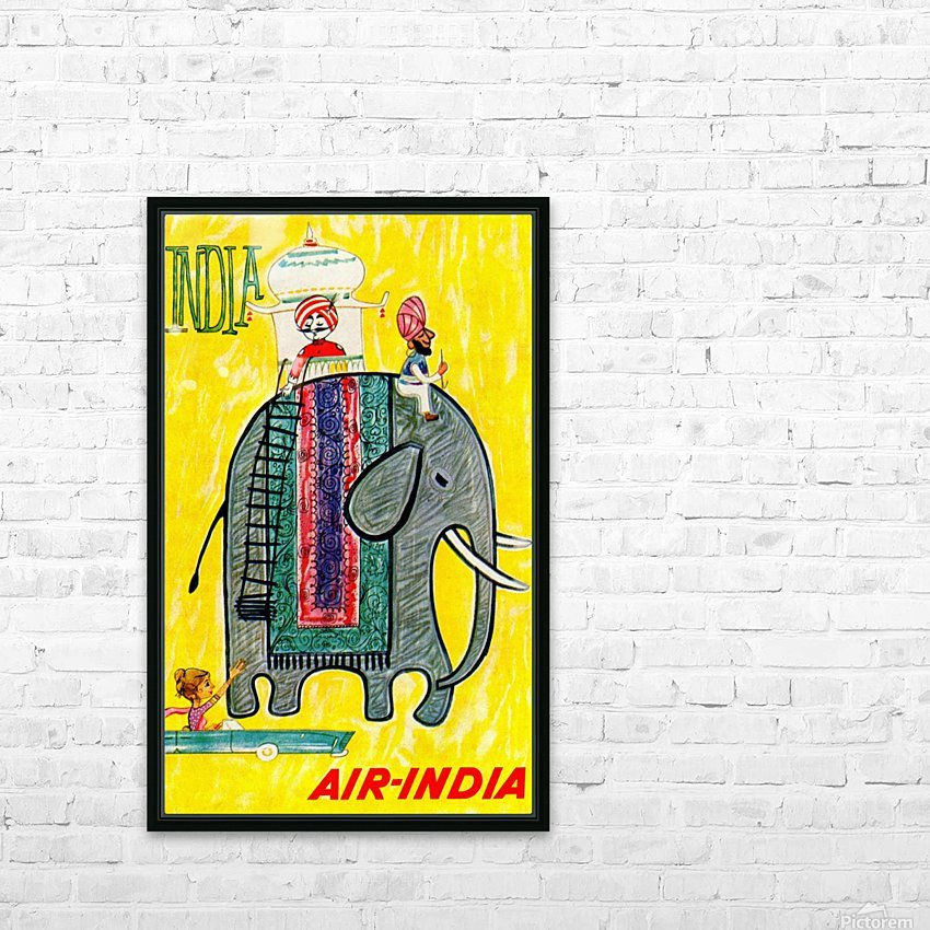 Air-India travel poster HD Sublimation Metal print with Decorating Float Frame (BOX)